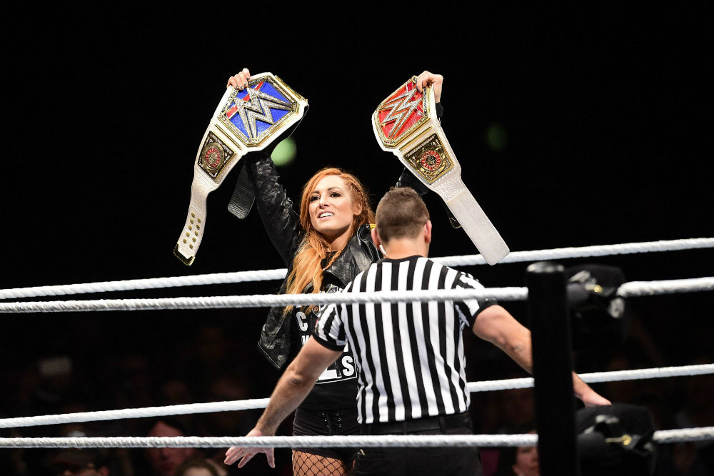 Becky Lynch celebrates in Paris / Photo Credit: JB Autissier / Panoramic via www.imago-images.de/Imago/PA Images