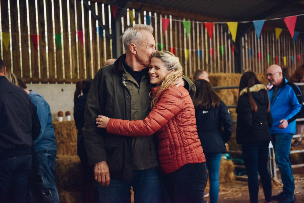 Larry Lamb and Caroline Sheen in Pitching In / Photo Credit: BBC