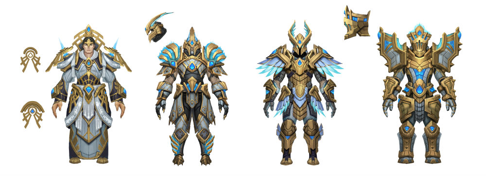 Kyrian armour designs / Photo Credit: Chris Chang/Blizzard Games