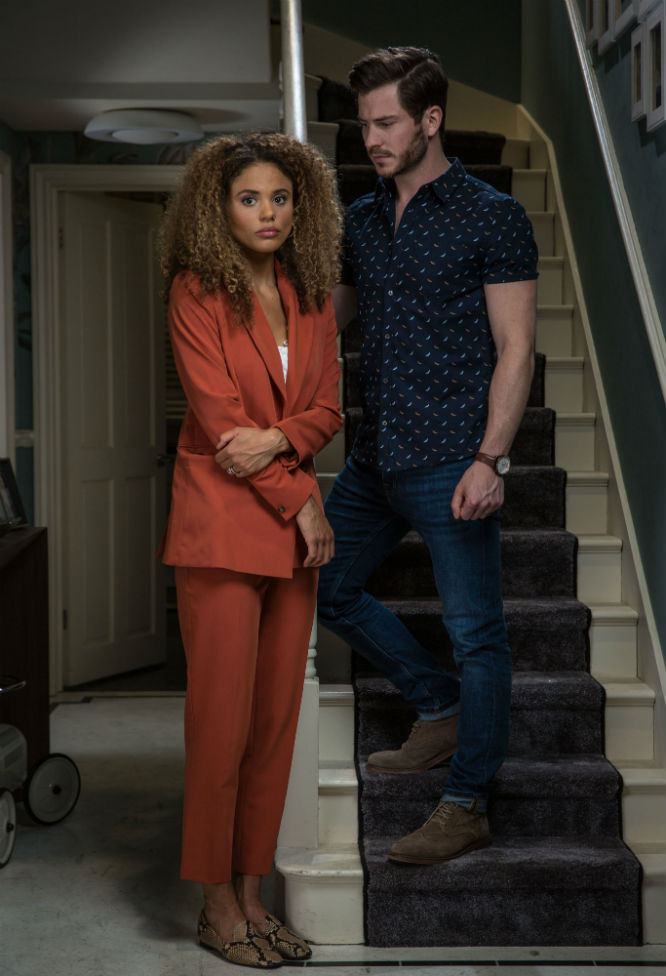 Jessica Plummer and Toby-Alexander Smith as Chantelle and Gray Atkins in EastEnders / Photo Credit: BBC