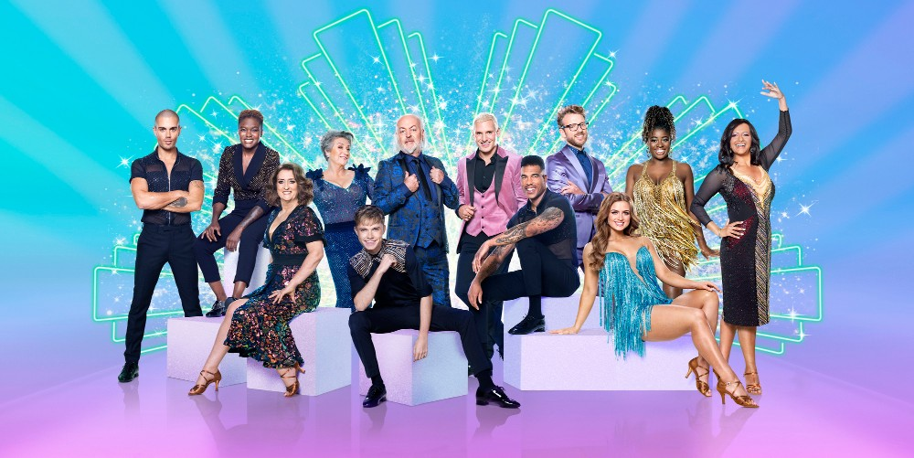 (left to right) Max George, Nicola Adams, Jacqui Smith, Caroline Quentin, HRVY, Bill Bailey, Jamie Laing, Jason Bell, JJ Chalmers, Maisie Smith, Clara Amfo, Ranvir Singh / Picture Credit: BBC