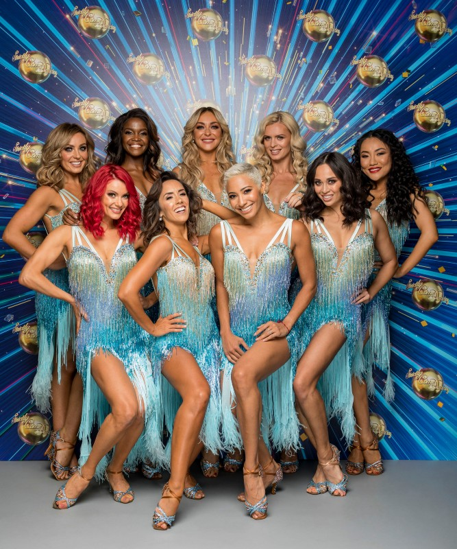 (left to right, back then front row) The female Strictly pros in 2020: Amy Dowden, Oti Mabuse, Luba Mushtuk, Nadiya Bychkova, Nancy Xu, Dianne Buswell, Janette Manrara, Karen Hauer, Katya Jones / Picture Credit: BBC/Guy Levy