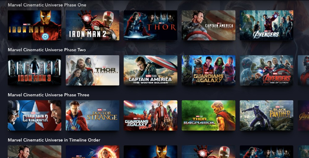 The Disney+ platform offers all bar three of the MCU movies