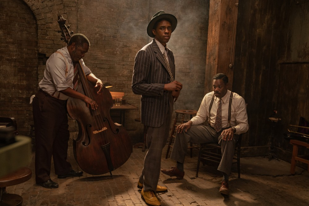 Michael Potts, Chadwick Boseman and Colman Domingo in Ma Rainey's Black Bottom / Picture Credit: David Lee/Netflix