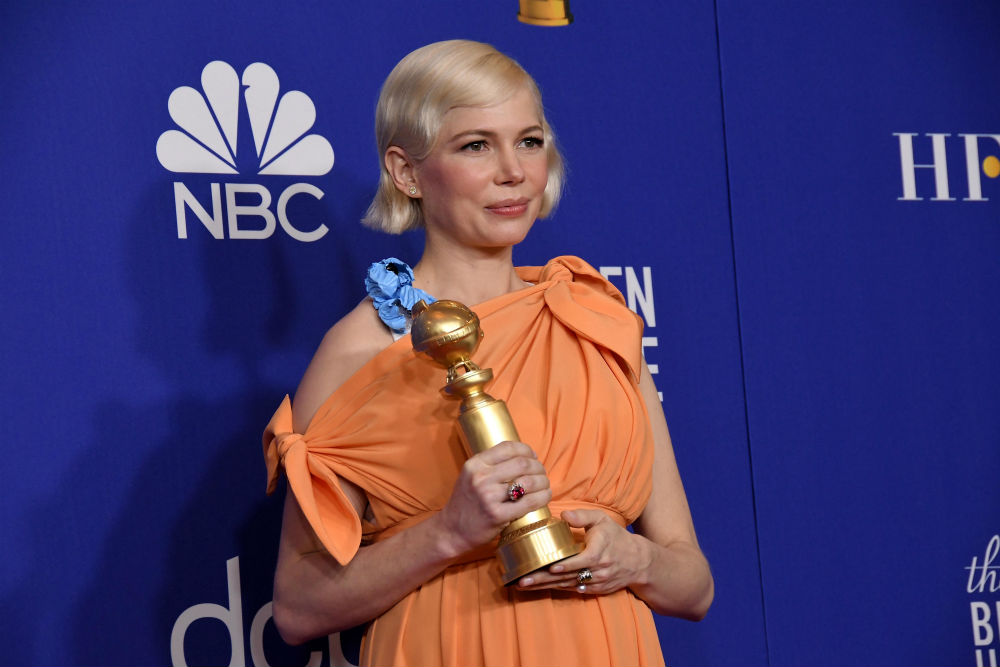 Michelle Williams celebrating at the 2020 Golden Globe Awards / Photo Credit: Sipa USA/SIPA USA/PA Images