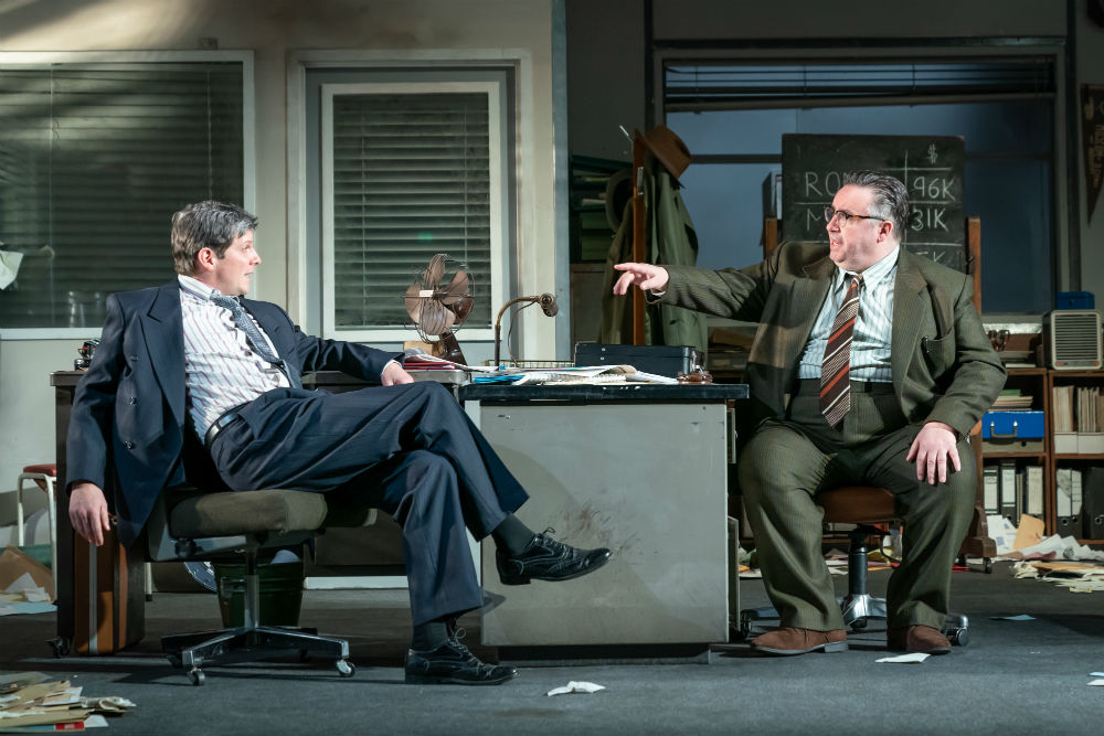Nigel Harman and Mark Benton as Ricky Roma and Shelly Levene in Glengarry Glen Ross