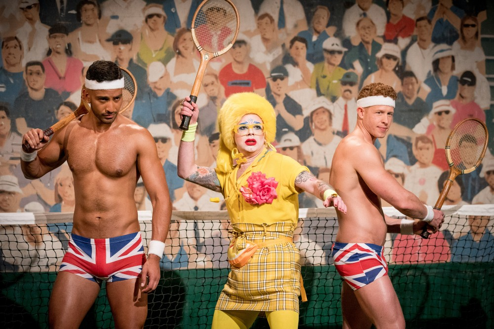 Ginny Lemon served an ace in the mini challenge with the Brit Crew / Picture Credit: BBC/World of Wonder/Guy Levy
