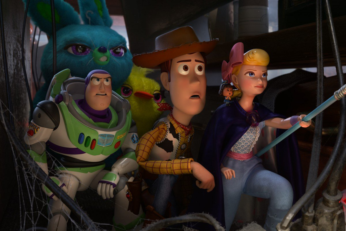 Bo Peep, Woody, Buzz Lightyear, Bunny and Ducky in Toy Story 4 / Photo Credit: Disney/Pixar