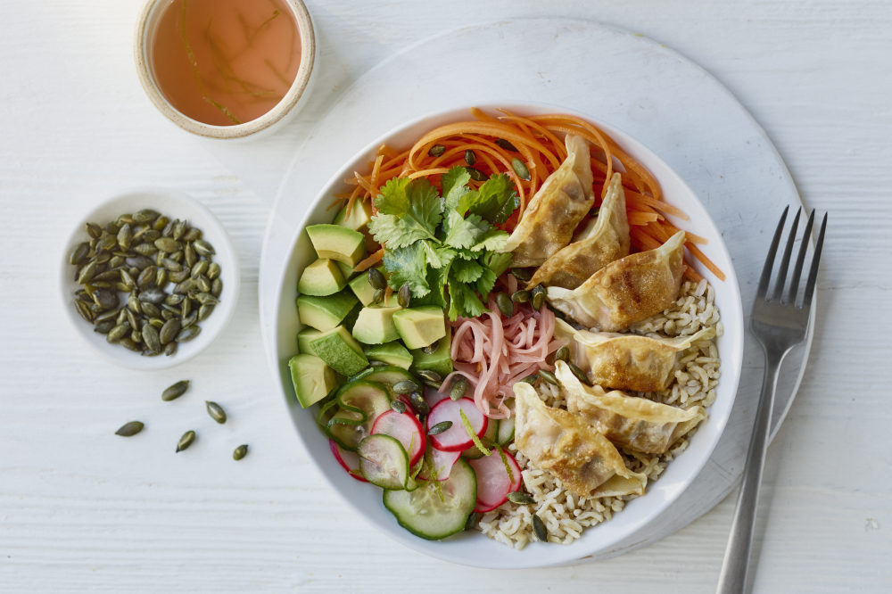 Brown Rice Gyoza Buddha Bowl