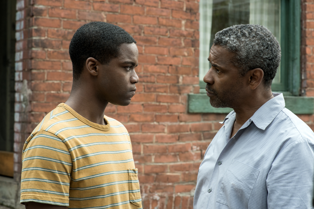 Jovan Adepo and Denzel Washington in Fences
