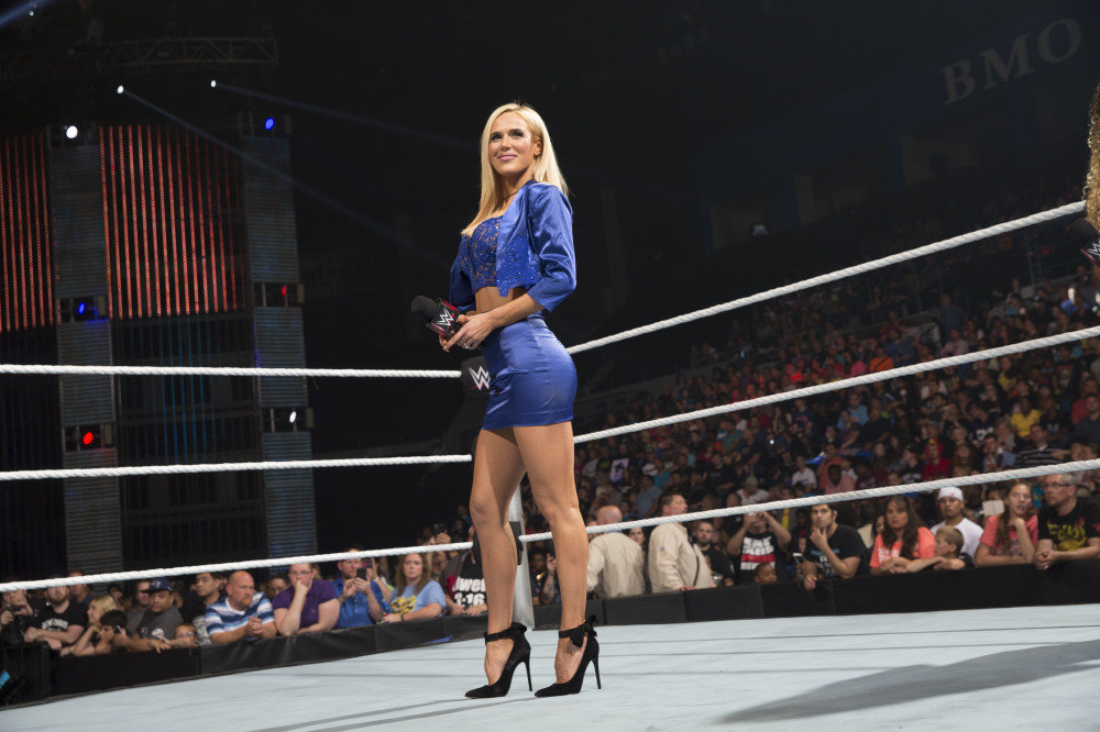 Lana soaking in the reception at a WWE event