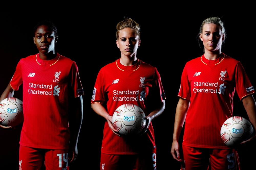 (L-R) Asisat Oshoala, Natasha Dowie and Gemma Bonner of Liverpool Ladies FC