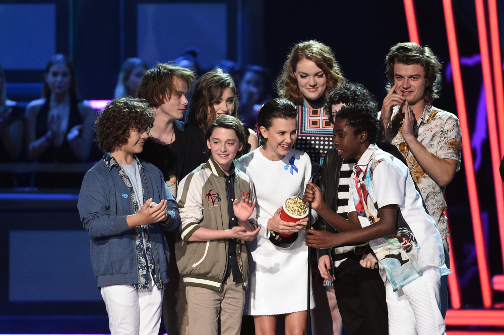 The cast of Stranger Things accept their MTV Award