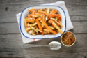 Carrot and Parsnip Fries with a Spicy Salsa Dipping Sauce