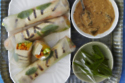 Grilled Tofu and Tangerine Summer rolls with Spicy Peanut Sauce