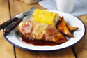 Hunters Chicken With Sweet Potato Wedges And Corn