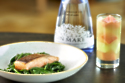 Pan Fried Salmon with Sea Vegetables, Samphire and Crushed Celeriac with a Gin Mare Butter Sauce