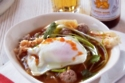 Thai Brunch: Rice soup with pork balls, ginger and poached egg