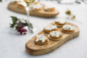 Organic mini pumpkin and ricotta tarts with spiced honey