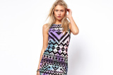 ASOS Bodycon Dress In Blurred Aztec Print