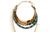 ASOS Multirow Gem & Spike Torque Necklace