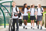 Children often enjoy catching up with friends while walking to and from school