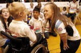 Ellie Simmonds meets school children