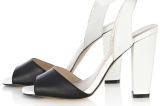 Karen Millen Black & White Colourblock Heeled Sandals