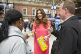 Lisa Snowdon puts a smile on busy commuters faces in Victoria Station as part of the Belvita Breakfast Better Mornings campaign.