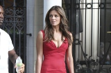 Liz Hurley on the set of Gossip Girl