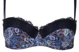 Topshop Floral and Eyelash Balcony Bra