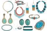 Turquoise jewellery looks best with a tan