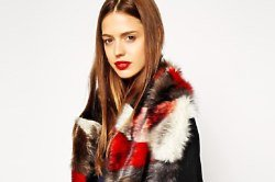 ASOS Faux Fur Long Patchwork Collar