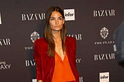 Lily Aldridge looks chic in a velvet pantsuit