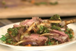 VIDEO: Matt Dawson's Pesto Crusted Rack of Lamb Recipe