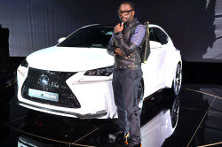 will.i.am unveiling his custom-designed Lexus NX 200t F SPORT car in Paris