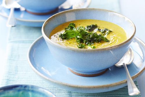 Crispy kale and coconut soup recipe for Alpro coconut cuisine