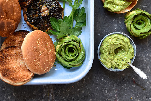 Portobello Burger 'Bar' with guacamole and curried mayo