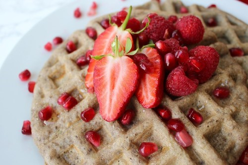 Vegan Strawberry And Raspberry Waffles