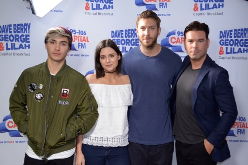 Lilah Parsons with fellow presenters George Shelley and Dave Berry, alongside Calvin Harris