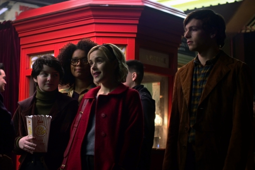 Lachlan Watson, Jaz Sinclair, Kiernan Shipka and Ross Lynch in Chilling Adventures of Sabrina / Photo Credit: Netflix