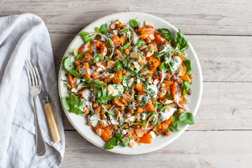 Crushed Carrot Salad With Crispy Spiced Chickpeas & Kefir Dressing