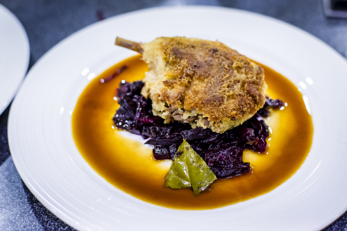 Duck confit in honey and whole grain mustard crust, sherry vinegar sauce, beetroot marmalade