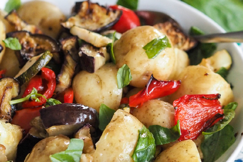New Potato, Basil And Roasted Vegetable Salad With Italian Dressing by Katy English of Little Miss Katy