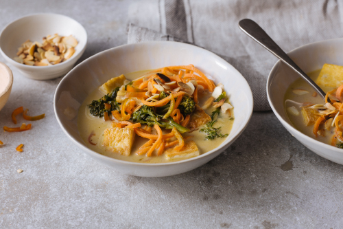 Malaysian tofu & carrot noodle laksa with flaked almonds