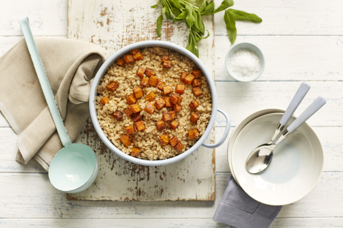 Pearl barley and roasted butternut squash risotto