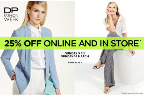 25% off all full price items at Dorothy Perkins Fashion Week!