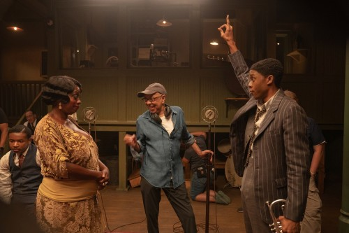 Viola Davis and Chadwick Boseman with Ma Rainey's Black Bottom director George C. Wolfe / Picture Credit: David Lee/Netflix