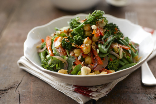 Warm broccoli and chickpea salad