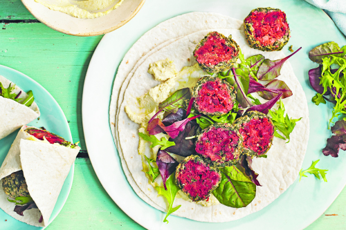 Beetroot & spinach falafel wraps